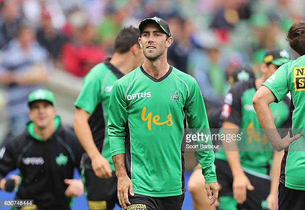 Glenn Maxwell of the Stars warms up during the Big Bash League match between the Melbourne Stars and Melbourne Renegades at Melbourne Cricket Ground...