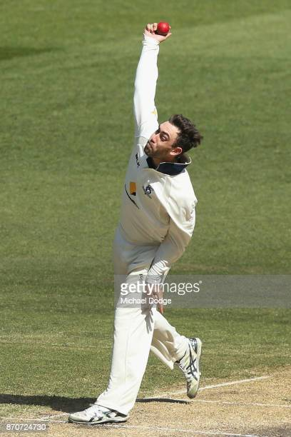 Glenn Maxwell of Victoria bowls during day three of the Sheffield Shield match between Victoria and South Australia at Melbourne Cricket Ground on...