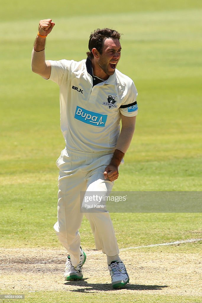 Glenn Maxwell of Victoria celebrates after dismissing Sam Whiteman of Western Australia during day four of the Sheffield Shield match between Western...