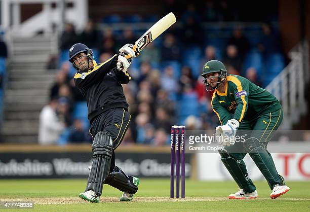 Glenn Maxwell of Yorkshire bats during the NatWest T20 Blast match between Yorkshire and Nottinghamshire at Headingley on June 19 2015 in Leeds...