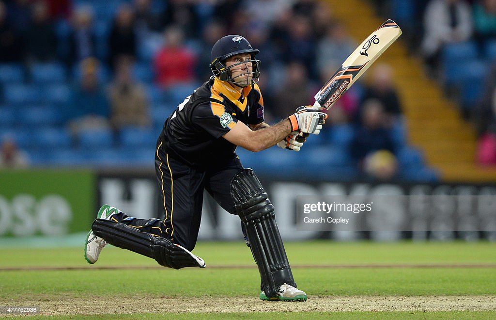 <a gi-track='captionPersonalityLinkClicked' href=/galleries/search?phrase=Glenn+Maxwell&family=editorial&specificpeople=752174 ng-click='$event.stopPropagation()'>Glenn Maxwell</a> of Yorkshire bats during the NatWest T20 Blast match between Yorkshire and Nottinghamshire at Headingley on June 19, 2015 in Leeds, England.