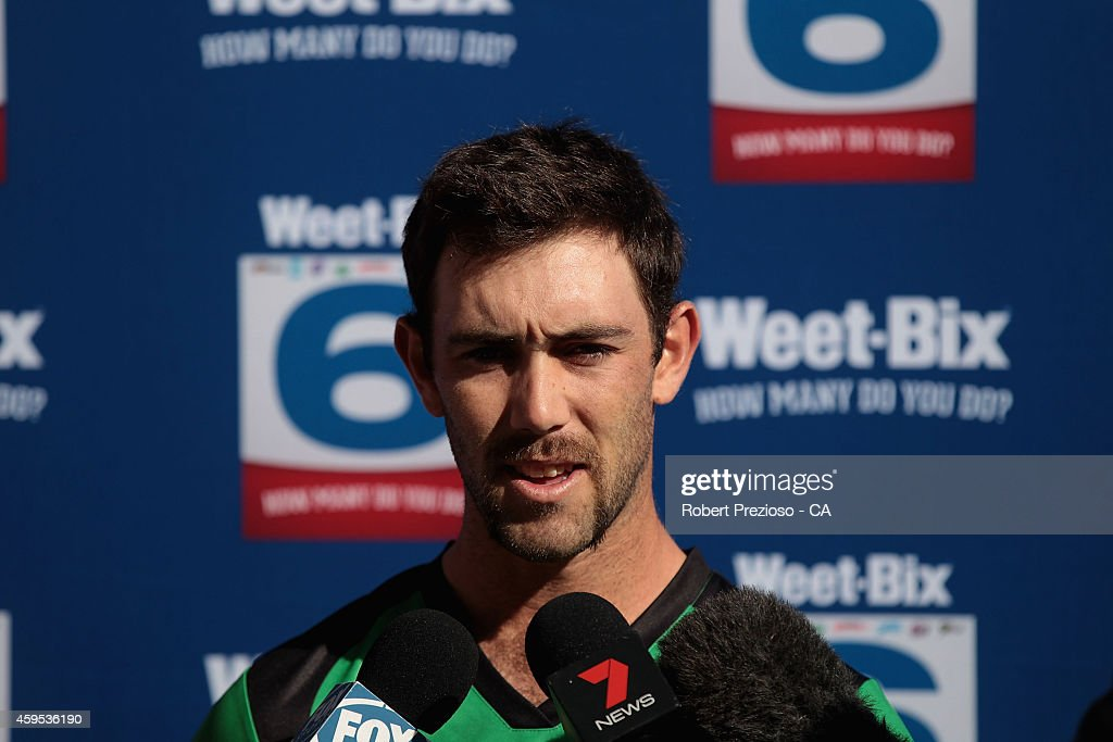 Glenn Maxwell speaks to media during the BBL T20 WeetSix Launch Media Opportunity at Melbourne Cricket Ground on November 25 2014 in Melbourne...