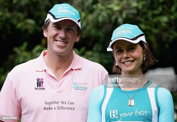 Glenn McGrath and Antonia Kidman attend a photo call ahead of Sunday's Blackmores Sydney Running Festival welcoming the official race starter Japan's...