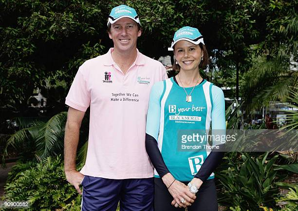 Glenn McGrath and Antonia Kidman pose for a photograph during a photo call ahead of Sunday's Blackmores Sydney Running Festival welcoming the...
