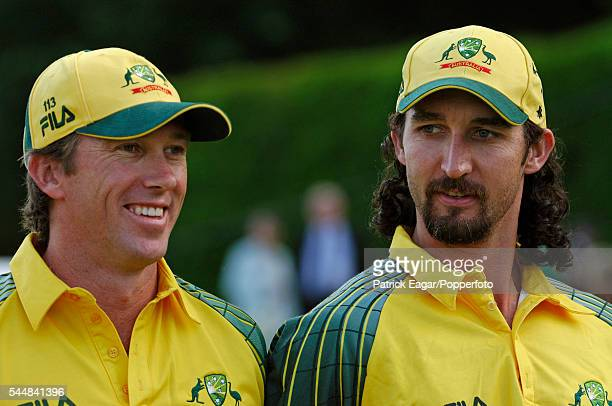 Glenn McGrath and Jason Gillespie of Australia during the tour match between PCA Masters XI and Australians at Arundel 9th June 2005