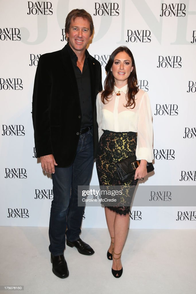 Glenn McGrath and Sara Leonardi-McGrath arrives at the David Jones Spring/Summer 2013 Collection Launch at David Jones Elizabeth Street on July 31, 2013 in Sydney, Australia.