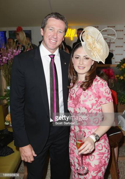 Glenn McGrath and Sara LeonardiMcGrath pose at the Myer marquee at the Melbourne Cup at Flemington Racecourse on November 6 2012 in Melbourne...