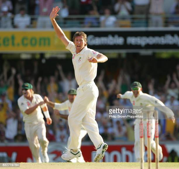 Glenn McGrath appeals successfully for the wicket of England batsman Alastair Cook caught by Shane Warne for 11 during the 1st Test match between...