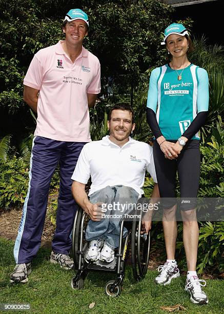 Glenn McGrath Kurt Fearnley and Antonia Kidman pose for a photograph during a photo call ahead of Sunday's Blackmores Sydney Running Festival...