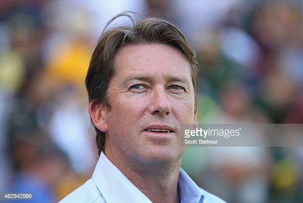 Glenn McGrath looks on during day one of the First Ashes Test match between Australia and England at The Gabba on November 21 2013 in Brisbane...
