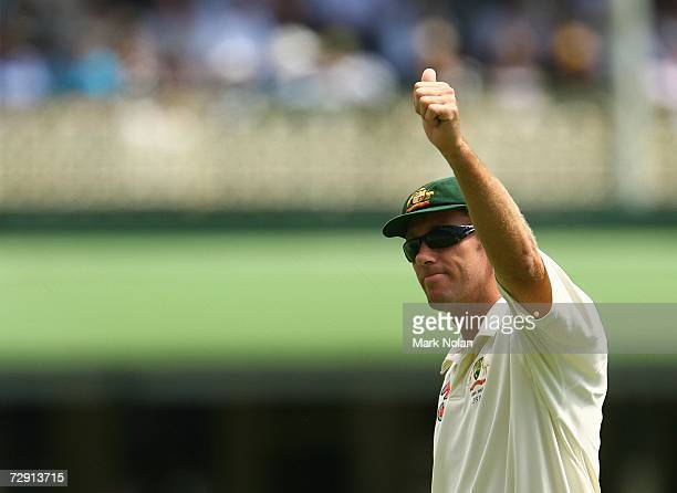 Glenn McGrath of Australia acknowledges the crowd's applause for taking the wicket of Paul Collingwood of England during day two of the fifth Ashes...