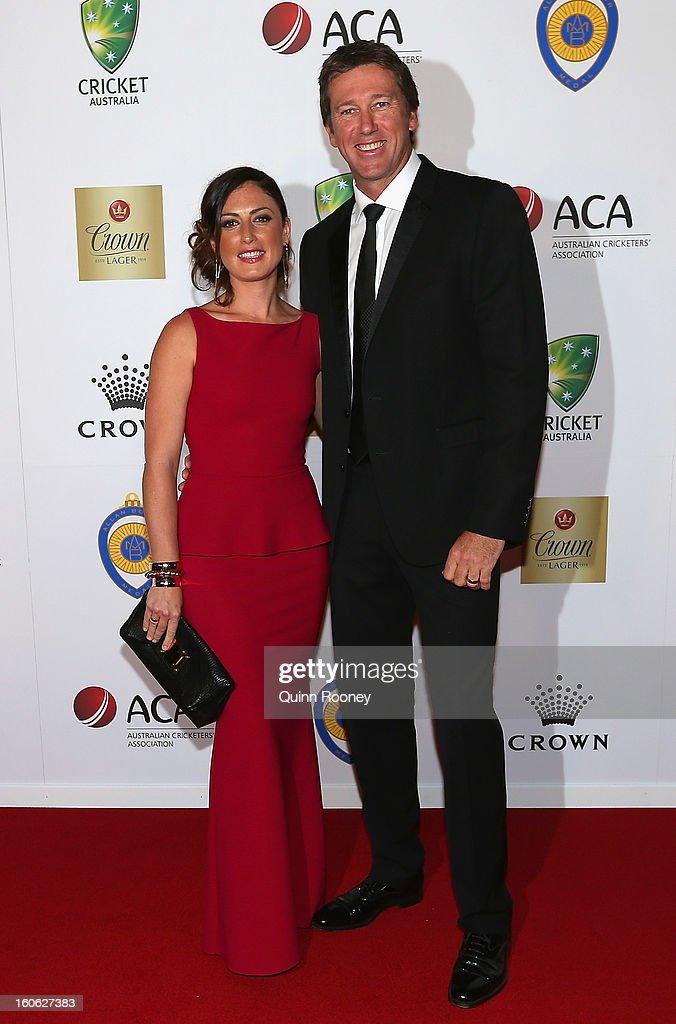 Glenn McGrath of Australia and his wife Sara Leonardi arrive at the 2013 Allan Border Medal awards ceremony at Crown Palladium on February 4, 2013 in Melbourne, Australia.