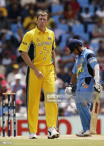 Glenn McGrath of Australia and Sachin Tendulkar of India in action during the ICC Cricket World Cup Pool A match between Australia and India played...