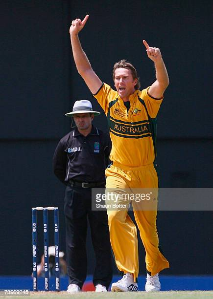 Glenn McGrath of Australia celebrates the wicket of Ashwell Prince of South Africa during the ICC Cricket World Cup Semi Final match between...
