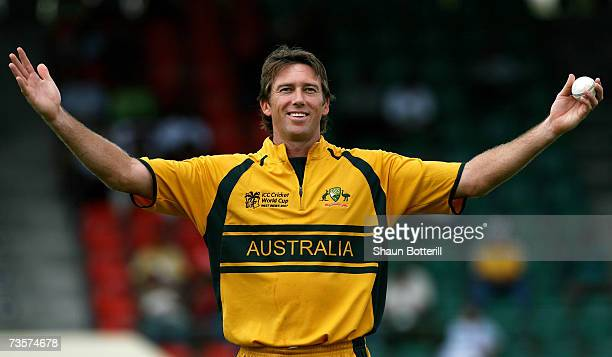 Glenn McGrath of Australia exchanges banter with the crowd during the ICC Cricket World Cup 2007 Group A match between Australia and Scotland at...