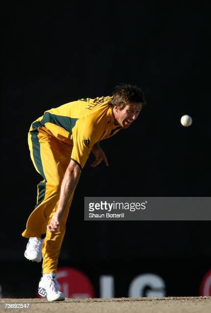 Glenn McGrath of Australia in bowling action during the ICC Cricket World Cup 2007 Group A match between Australia and South Africa at Warner Park on...