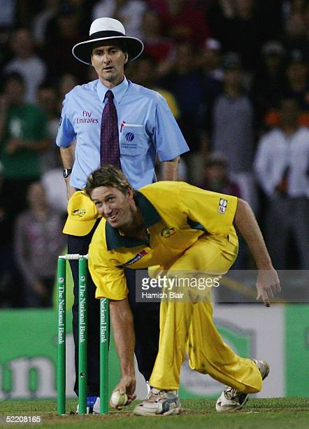 Glenn McGrath of Australia pretends to bowl an underarm delivery for the last ball of the match during the Twenty20 International Match between New...