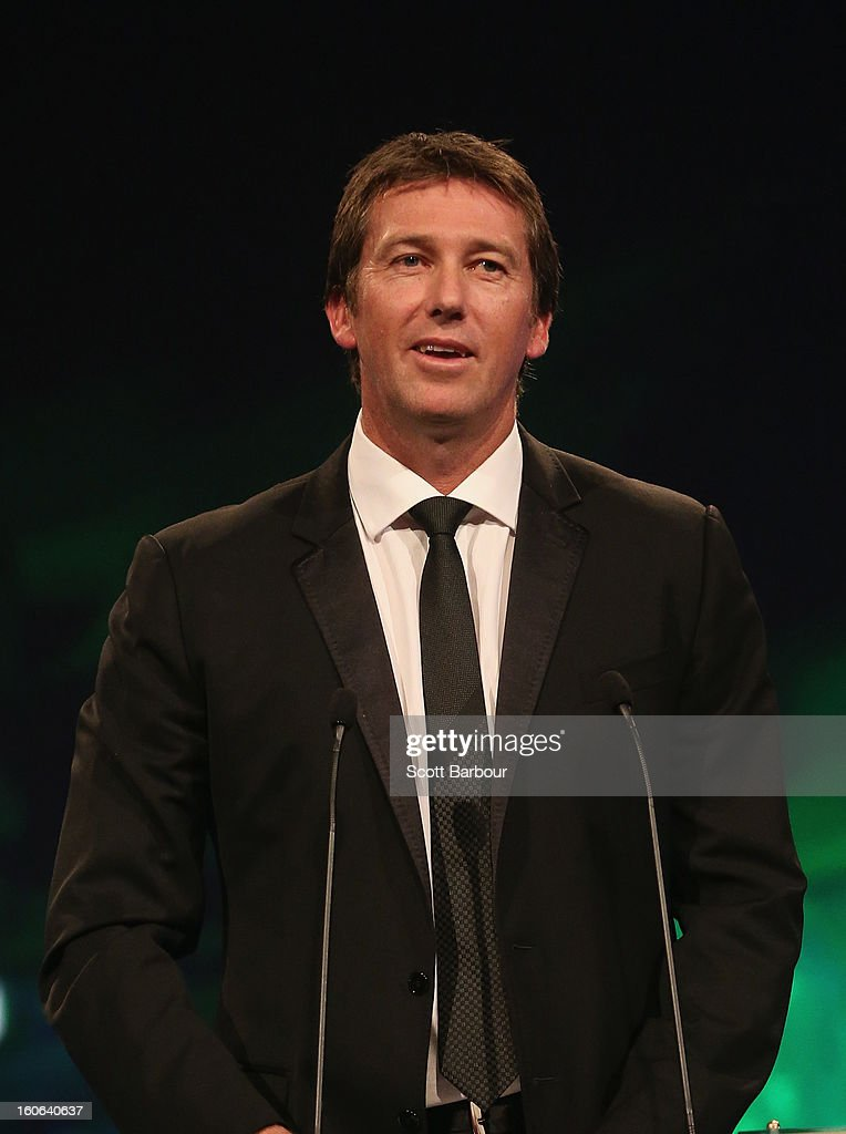 Glenn McGrath of Australia speaks after being inducted into the Australian Cricket Hall of Fame during the 2013 Allan Border Medal awards ceremony at Crown Palladium on February 4, 2013 in Melbourne, Australia.
