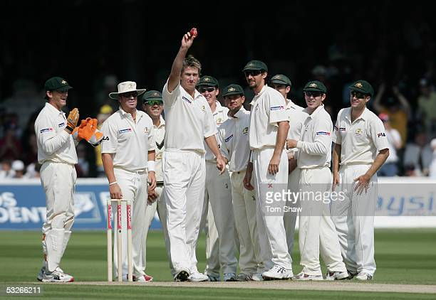 Glenn McGrath of Australia takes the wicket of Marcus Trescothick and takes his 500th test wicket during day one of the first npower Ashes Test match...