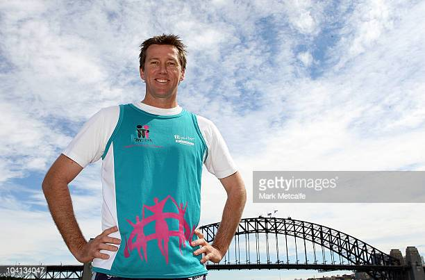 Glenn McGrath poses during a Sydney Running Festival Press Conference at Sydney Harbour on September 16 2010 in Sydney Australia