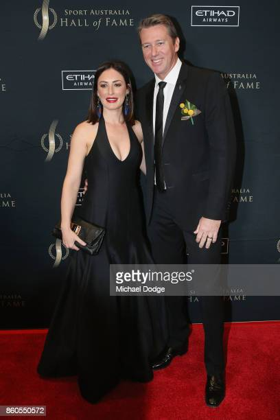 Glenn McGrath poses with wife Sara Leonardi at the Sport Australia Hall of Fame Annual Induction and Awards Gala Dinner at Crown Palladium on October...