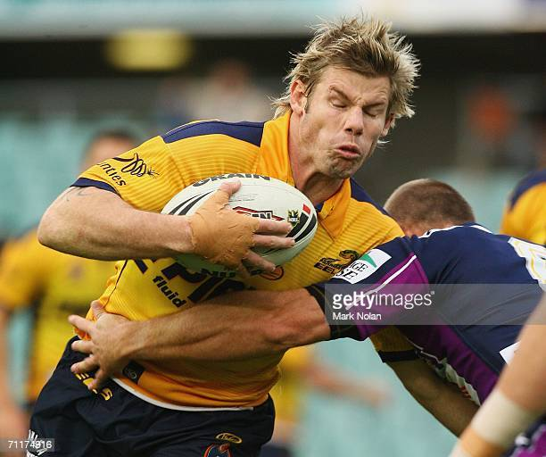 Glenn Morrison of the Eels in action during the round 14 NRL match between the Parramatta Eels and the Melbourne Storm played at Parramatta Stadium...