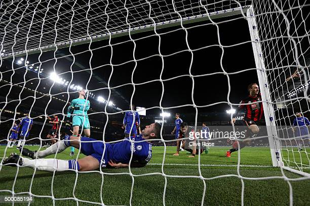 Glenn Murray of Bournemouth celebrates scoring his team's first goal during the Barclays Premier League match between Chelsea and AFC Bournemouth at...