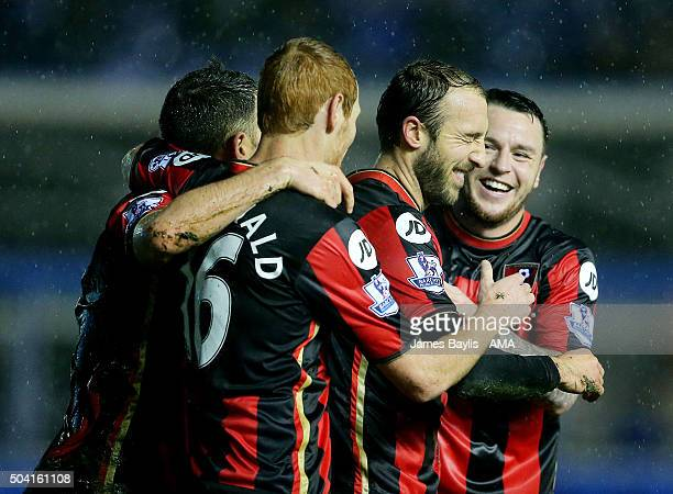 Glenn Murray of Bournemouth celebrates with his teammates after scoring a goal to make it 12 during The Emirates FA Cup match between Birmingham City...