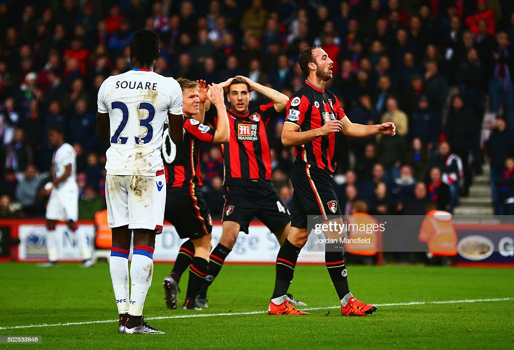 Glenn Murray (R) of Bournemouth reacts after failing to score during the Barclays Premier League match between A.F.C. Bournemouth and Crystal Palace at Vitality Stadium on December 26, 2015 in Bournemouth, England.