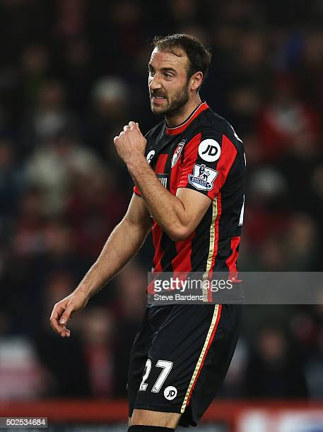 Glenn Murray of Bournemouth reacts after failing to score during the Barclays Premier League match between AFC Bournemouth and Crystal Palace at...