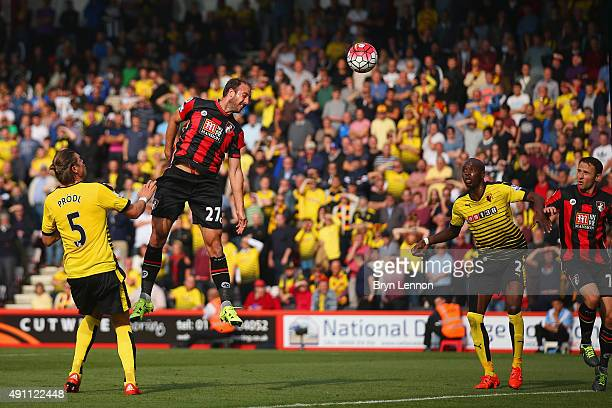 Glenn Murray of Bournemouth scores his team's first goal during the Barclays Premier League match between AFC Bournemouth and Watford at Vitality...