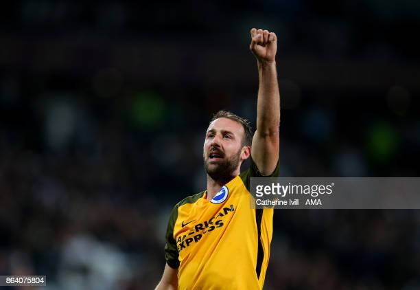 Glenn Murray of Brighton and Hove Albion celebrates during the Premier League match between West Ham United and Brighton and Hove Albion at London...