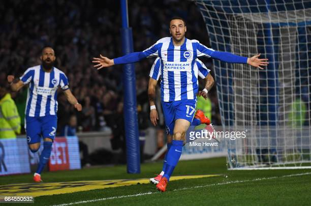 Glenn Murray of Brighton and Hove Albion celebrates scoring his sides first goal during the Sky Bet Championship match between Brighton Hove Albion...