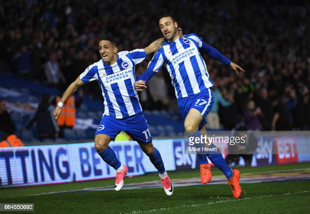 Glenn Murray of Brighton and Hove Albion celebrates scoring his sides first goal with Anthony Knockaert of Brighton and Hove Albion during the Sky...