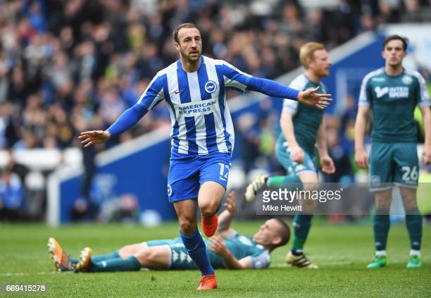 Glenn Murray of Brighton and Hove Albion celebrates scoring the opening goal during the Sky Bet Championship match between Brighton and Hove Albion...