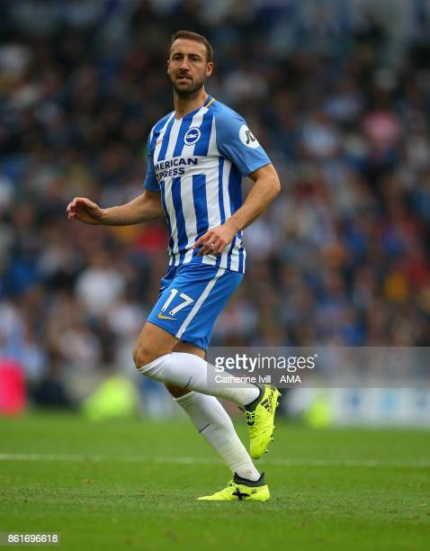 Glenn Murray of Brighton and Hove Albion during the Premier League match between Brighton and Hove Albion and Everton at Amex Stadium on October 15...