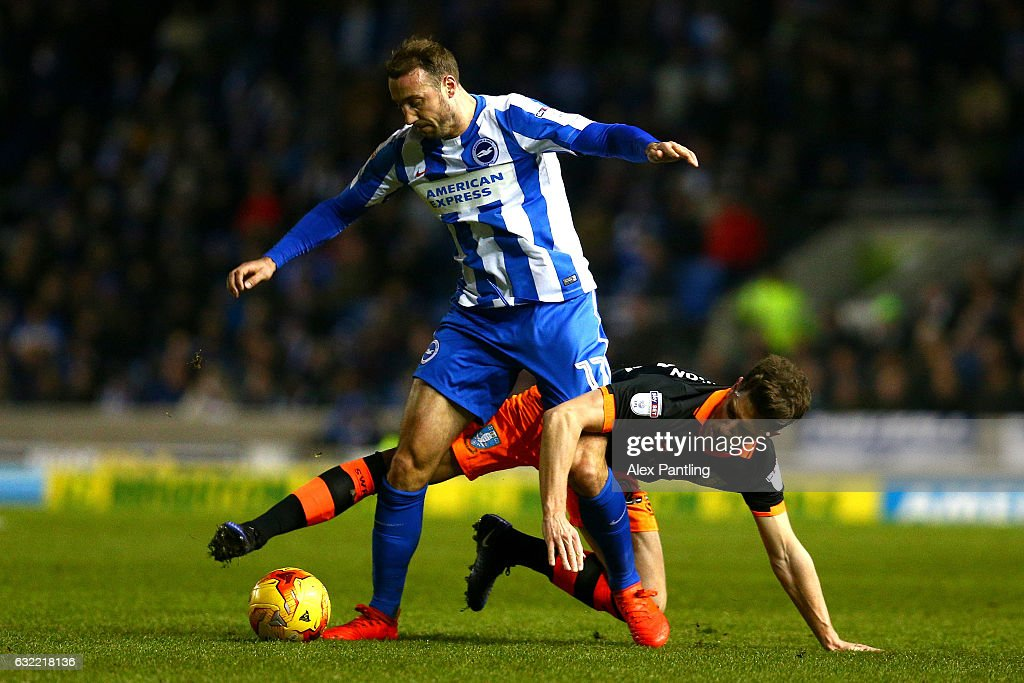 Glenn Murray of Brighton and Hove Albion holds off Sam Hutchinson of Sheffield Wednesday during the Sky Bet Championship match between Brighton & Hove Albion and Sheffield Wednesday at Amex Stadium on January 20, 2017 in Brighton, England.