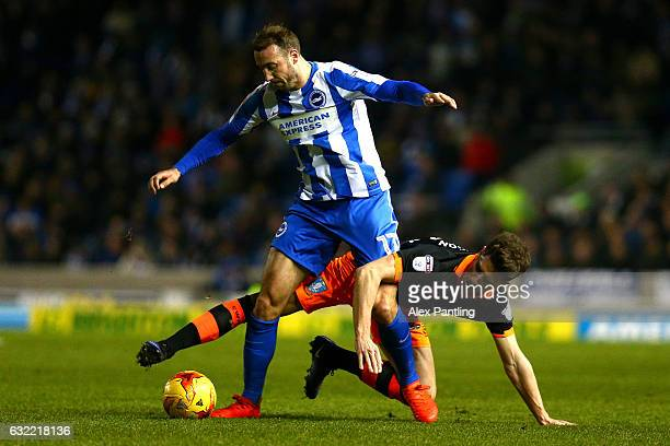 Glenn Murray of Brighton and Hove Albion holds off Sam Hutchinson of Sheffield Wednesday during the Sky Bet Championship match between Brighton Hove...