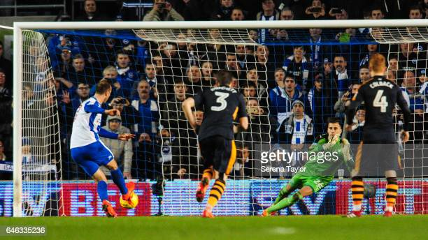 Glenn Murray of Brighton and Hove Albion scores from the penalty spot past Newcastle Goalkeeper Karl Darlow during the Sky Bet Championship Match...