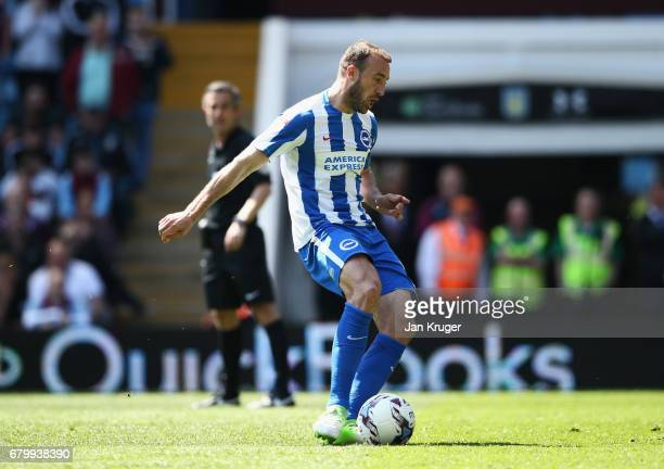 Glenn Murray of Brighton and Hove Albion scores his sides first goal from the penalty spot during the Sky Bet Championship match between Aston Villa...