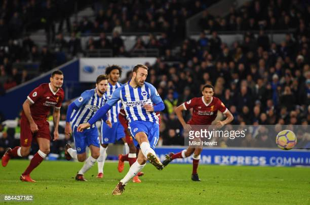 Glenn Murray of Brighton and Hove Albion scores his sides first goal from the penalty spot during the Premier League match between Brighton and Hove...
