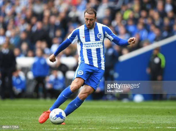 Glenn Murray of Brighton and Hove Albion scores the opening goal during the Sky Bet Championship match between Brighton and Hove Albion and Wigan...