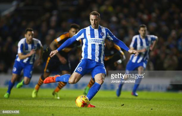 Glenn Murray of Brighton and Hove Albion scores their first goal from a penalty during the Sky Bet Championship match between Brighton Hove Albion...