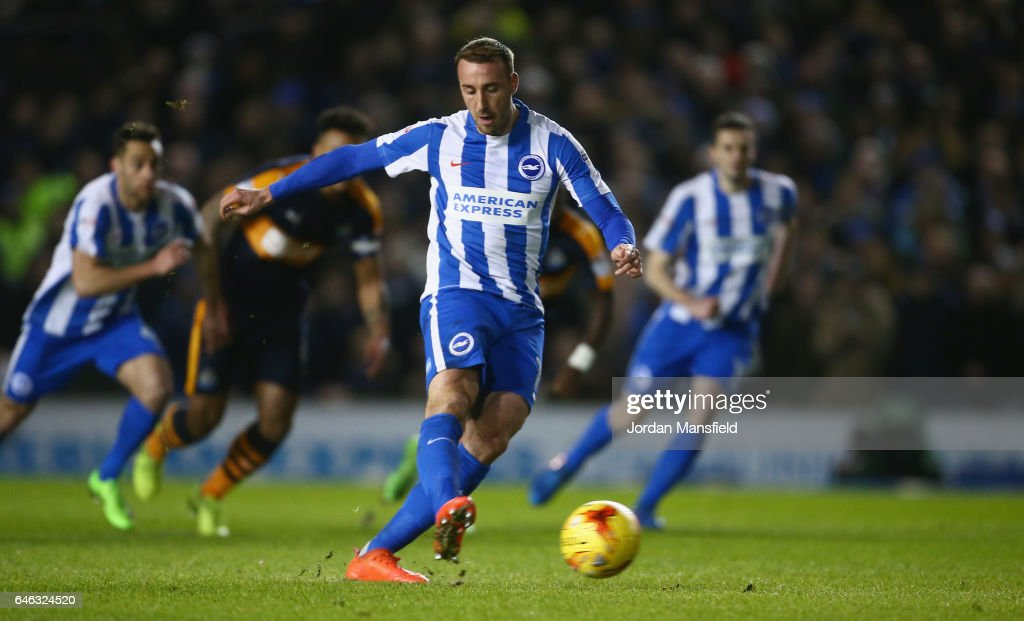 Glenn Murray of Brighton and Hove Albion scores their first goal from a penalty during the Sky Bet Championship match between Brighton & Hove Albion and Newcastle United at Amex Stadium on February 28, 2017 in Brighton, England.