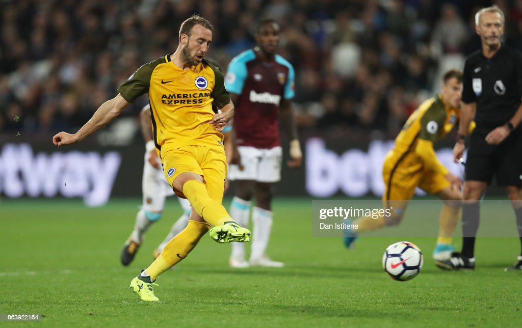 Glenn Murray of Brighton and Hove Albion scores their third goal from the penalty spot during the Premier League match between West Ham United and Brighton and Hove Albion at London Stadium on October 20, 2017 in London, England.