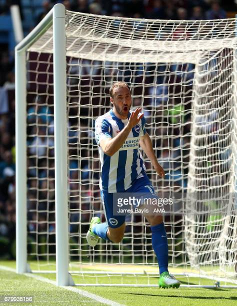 Glenn Murray of Brighton Hove Albion celebrates after scoring a goal to make it 01 during the Sky Bet Championship match between Aston Villa and...