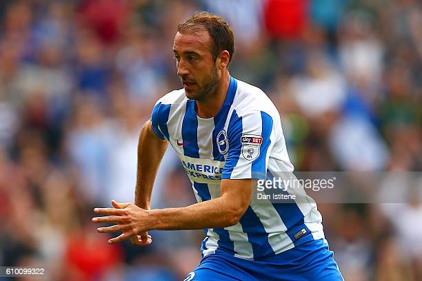 Glenn Murray of Brighton Hove Albion celebrates after scoring the opening goal during the Sky Bet Championship match between Brighton Hove Albion and...