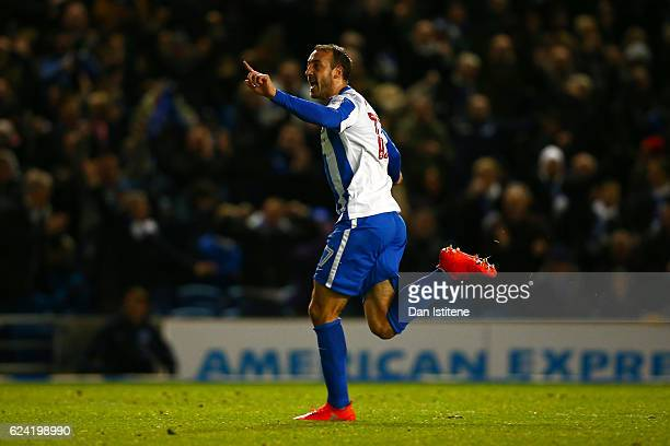 Glenn Murray of Brighton Hove Albion celebrates scoring his team's first goal during the Sky Bet Championship match between Brighton Hove Albion and...