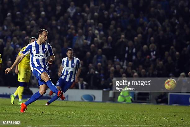 Glenn Murray of Brighton Hove Albion scores from the penalty spot during the Sky Bet Championship match between Brighton Hove Albion and Leeds United...