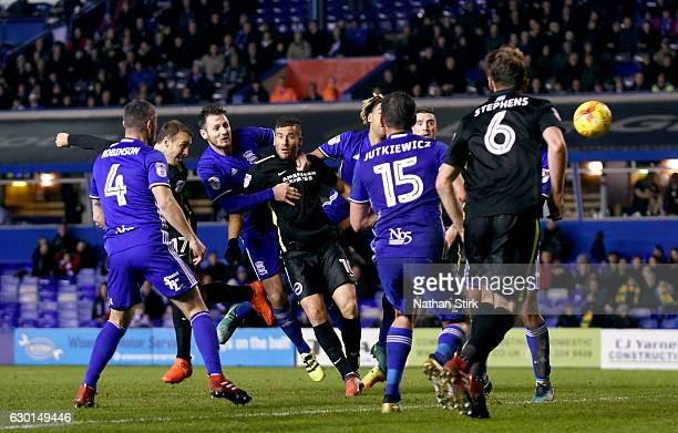 Glenn Murray of Brighton Hove Albion scores the winning goal during the Sky Bet Championship match between Birmingham City and Brighton Hove Albion...